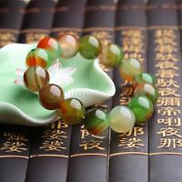 12mm Natural Multicolor Agate Round Gemstone Beads Stretchy Bracelet 7.5'' AAA