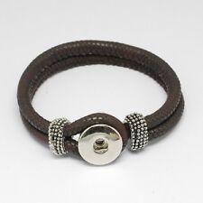 Bracelet Enfant / Femme pour Bouton pression Snap Simili Cuir Marron Foncé 22cm