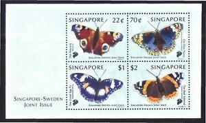 SINGAPORE 1999 SWEDEN JOINT ISSUE BUTTERFLIES SOUVENIR SHEET 4 STAMPS IN MINT