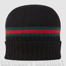 GUCCI black XL green-red-green WEB knit 100% Wool BEANIE SKI hat NWT Authentic!