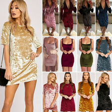 Womens Short Mini Dress Crushed Velvet Bodycon Cocktail Party Pullover Dresses