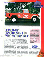 Pick-up Land Rover 110 Motopompe 4X4 Sapeur Pompier FICHE FIREFIGHTER