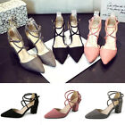Women's Block Kitten High Heels Suede Leather Shoes Pumps Pointed sandals