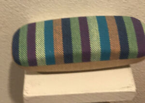 Clam Shell Striped Canvas Hard Glasses Case