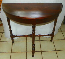 Solid Walnut Demilune Table / Entry Table by D.H. Fritts of Chicago  (T311)