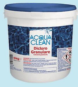 DICLORO GRANULARE SECCHIO 5 KG CLORO PER PISCINE 56% ACQUACLEAN GRANULI