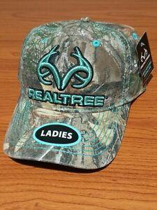 REALTREE Ladies Camo & Teal Baseball Hat Cap Raised Logo Adjustable Velcroback
