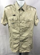 American Boy by Jacques Moadel button up shirt sz Xl Beige Striped Patched
