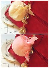 Fashion Fluffy Rabbit Fur Pearl Ball Drop Dangle Keyrings Key Chain Accessories