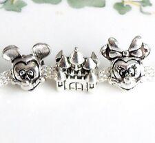 Minnie Mickey Mouse Head Charm Bead European bracelet Disney Pandora size Castle