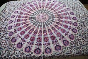 Purple Pink Cotton Wall Hanging Tapestry India Mandala Paisley Floral Hippy Boho