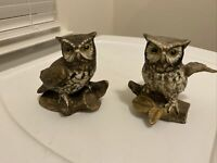 2 Vintage Homco Home Interiors Owl Figurines statues #1114