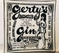 Vintage Gerty's Bathtub Gin Black/White Glass Trinket Dish Vanity Tray Plate 4""