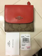 NWT Coach F87589 Small Trifold Wallet Snap PVC Leather Orange Red Orig $135