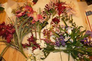 "Vintage Plastic Fake Faux Flowers Pink Red Purple Plum 12-28"" Assorted Lot #2"