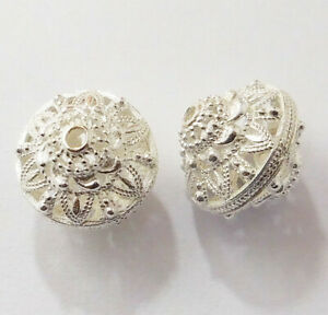 6 PCS 17MM SOLID COPPER  BALI FILIGREE BEAD STERLING SILVER PLATED 689 FUL-382