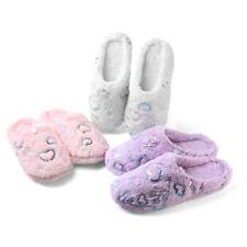 Aerusi Women Winter Warm Heart Plush Slippers Soft Indoor House Anti-Slip Shoes