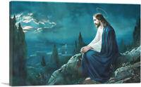 ARTCANVAS Christ on the Mount of Olives Jesus at Night Blue Canvas Art Print