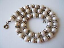 Kurze alte SWZ Perlenkette mit Zwischenelementen & Strass 38 g/38,5 cm