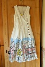 Boden Arwen Midi Dress UK 10 Long (US 6 EU 36 38) Ivory Street Scene