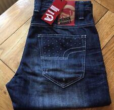 """Men's blu scuro look invecchiato DRUNKNMUNKY """"FALSO Stud 'jeans, taglia 28""""x31"""" (#2428)"""