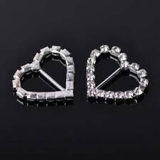 5pcs Silver Plated Crystal Paved Rhinestones Metal Heart Buckle Ribbon Findings