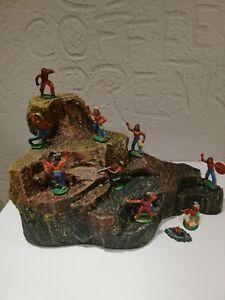 Wild-West Diorama Felsen für 7cm Gummi Figuren, Elastolin, DDR Indianer, Timpo