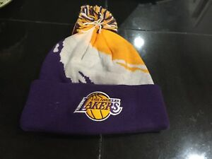 MENS LA LOS ANGELES LAKERS Mitchell & Ness Winter BEANIE POM PAINT SPLATTER  NWT