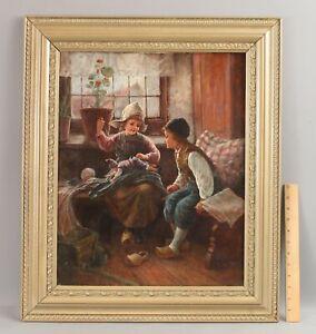 Antique FRITZ FIG Austrian Genre Interior Oil Painting, Children Repairing Doll