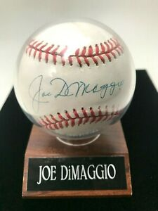 Joe DiMaggio Signed Autographed Baseball With Plastic Casing on Wood Display