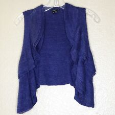 THEORY BLUE LINEN BLEND ISISA JEANS RUFFLED LINEN BLEND SWEATER VEST SIZE S/P