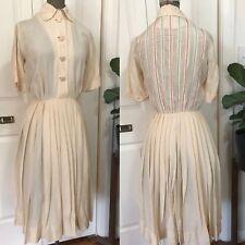 Vintage Henri Bendel 1950s Ivory Silk Dress Rockabilly Bombshell Wedding Sz 6/8