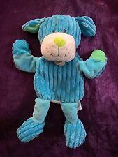 Doudou chien marionnette velours bleu cotelé Baby'Nat BABYNAT