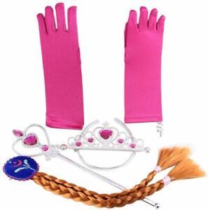 Eiskönigin Frozen Elsa Prinzessin Kostüm Handschuhe Zauberstab Tiara Zopf