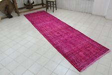 "Vintage Handmade Turkish Oushak Overdyed Distressed Runner Rug 129""x36"""