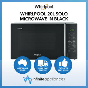 Whirlpool 20L 700W Solo Microwave In Black Auto Cook Keep Warm LED (MWP201SB)