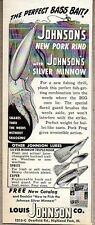 1950 Print Ad Johnson's Silver Minnow Pork Rind Fishing Lures Highland Park,IL