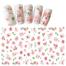 Pink Flower 3D Nail Art Stickers Colorful Adhesive Transfer Manicure Stickers