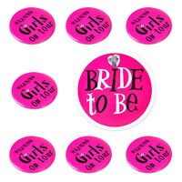 8x Bride to Be Girls on Tour Badges Pin Brooch Bachelorette Shower Bridal Party