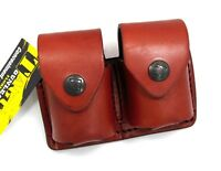 TAGUA GUNLEATHER BROWN LEATHER DOUBLE SPEEDLOADER POUCH for .44 .45 CAL