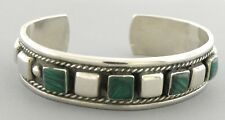 VINTAGE TAXCO STERLING SILVER MALACHITE CUFF BANGLE BRACELET MEXICO TC 12
