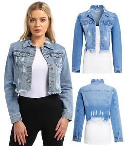Womens Size 14 12 10 8 6 Distressed Denim Jacket Cropped Jean Stonewash Blue