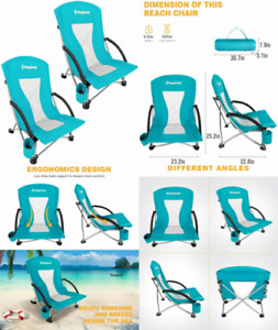 KingCamp Low Sling Beach Chair for Camping Concert Lawn, Lowback_cyan_2