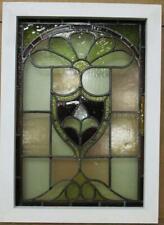 "VICTORIAN ENGLISH LEADED STAINED GLASS WINDOW Fleur De Lis 17.25"" x 23.75"""