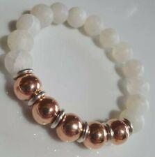 White Crackle Agate, Rose gold beads & Links Of London silver rings Bracelet