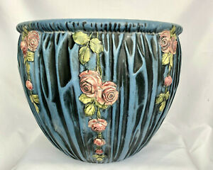 "WELLER POTTERY 12"" BLUE DRAPERY RED ROSES JARDINIERE - HUGE  RARE SIZE 12"""
