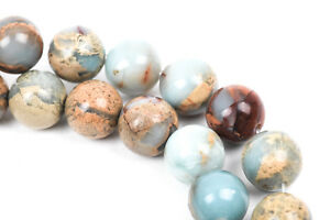 8mm AQUA TERRA JASPER Round Gemstone Beads, natural blue green tan gja0025