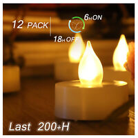 12 Flickering Battery Operated Flameless LED Tea Lights Tealight Candles w Timer