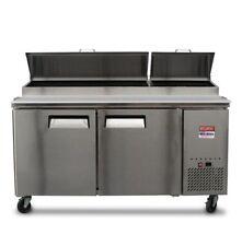 "Pizza Prep Table Unit 6' Make Line 67"" Refrigerator Prep Cooler 2 Door 72"""