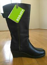 Crocs Leather Wedge Boots Women US 7  new